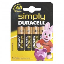 Piles alcalines AA Duracell Simply (blister de 4)