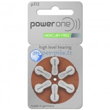 Piles auditives Power One ZA312 - PR41 (blister de 6)