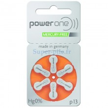 Piles auditives ZA13 - PR48 1,45V Power One (blister de 6)