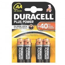 Piles alcalines AA Duracell Plus Power (blister de 4)