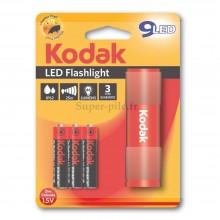Torche aluminium rouge Kodak 9 LED + 3 piles LR03
