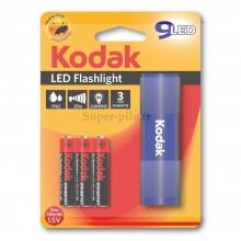 Torche aluminium bleue Kodak 9 LED + 3 piles LR03